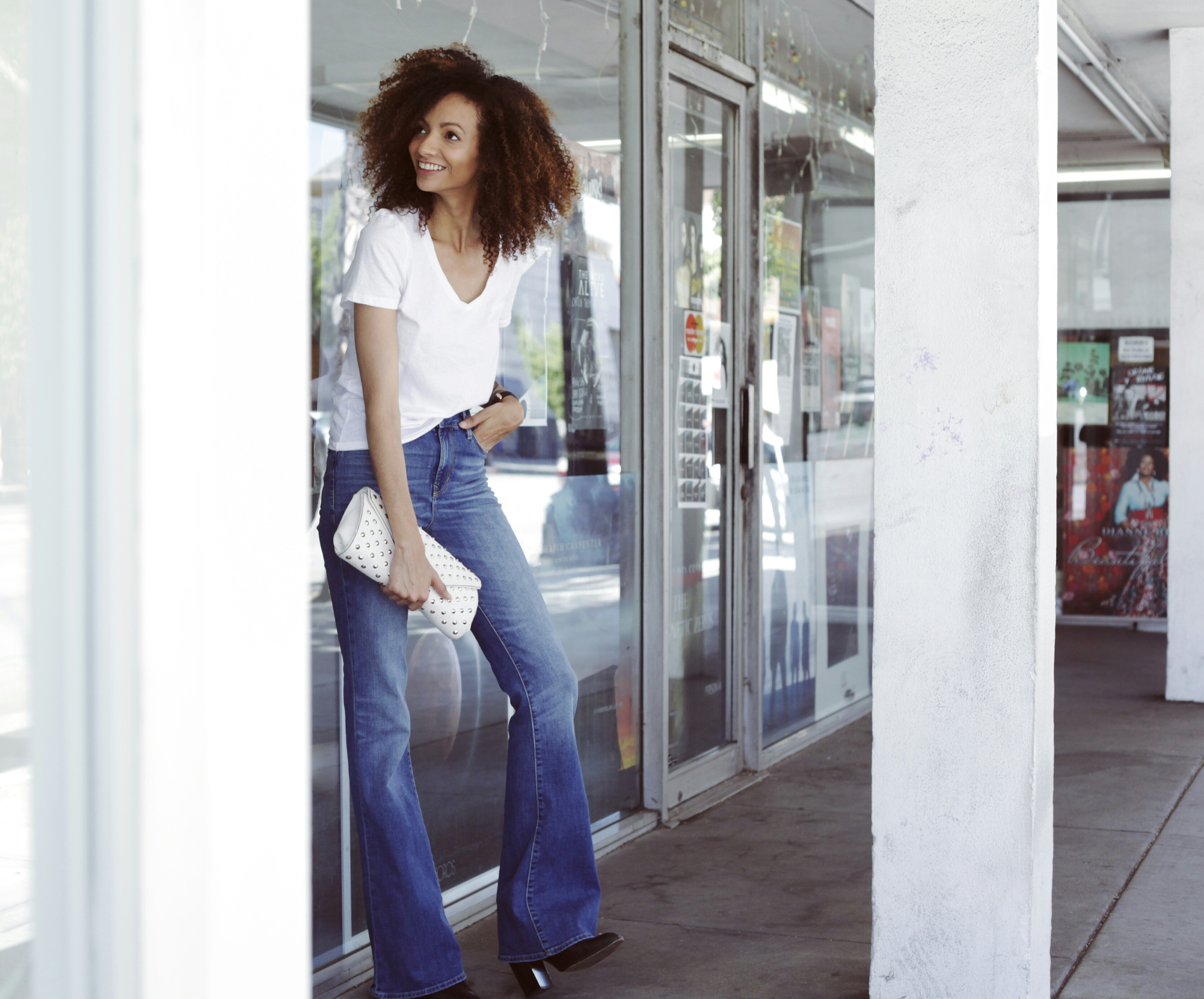 Old Navy High-Rise Vintage Flare Jeans ,  Old Navy Relaxed V-Neck Tee
