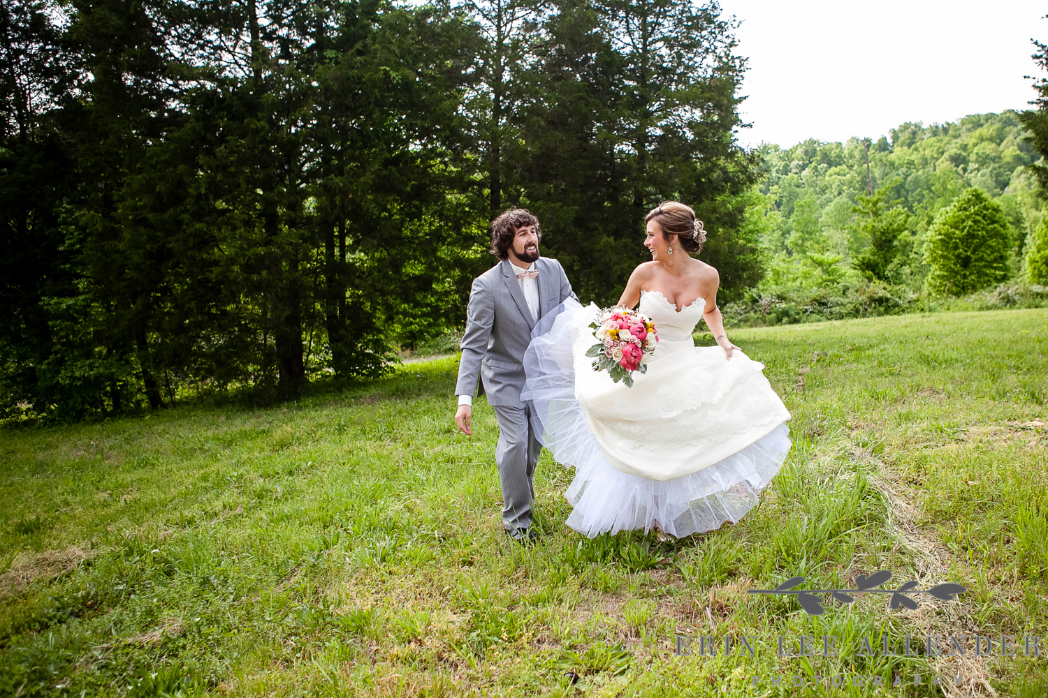 Bride and Groom Walk at Front Porch Farms