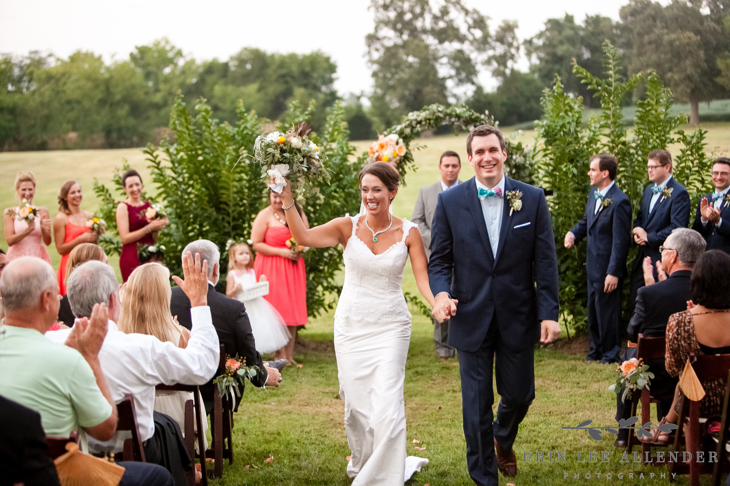 Bride_Groom_Walk_Down_Aisle_Farm_Wedding