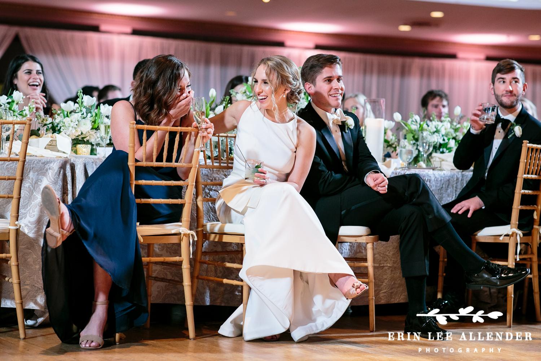 Bride_Bridesmaid_Laughs_At_Toast