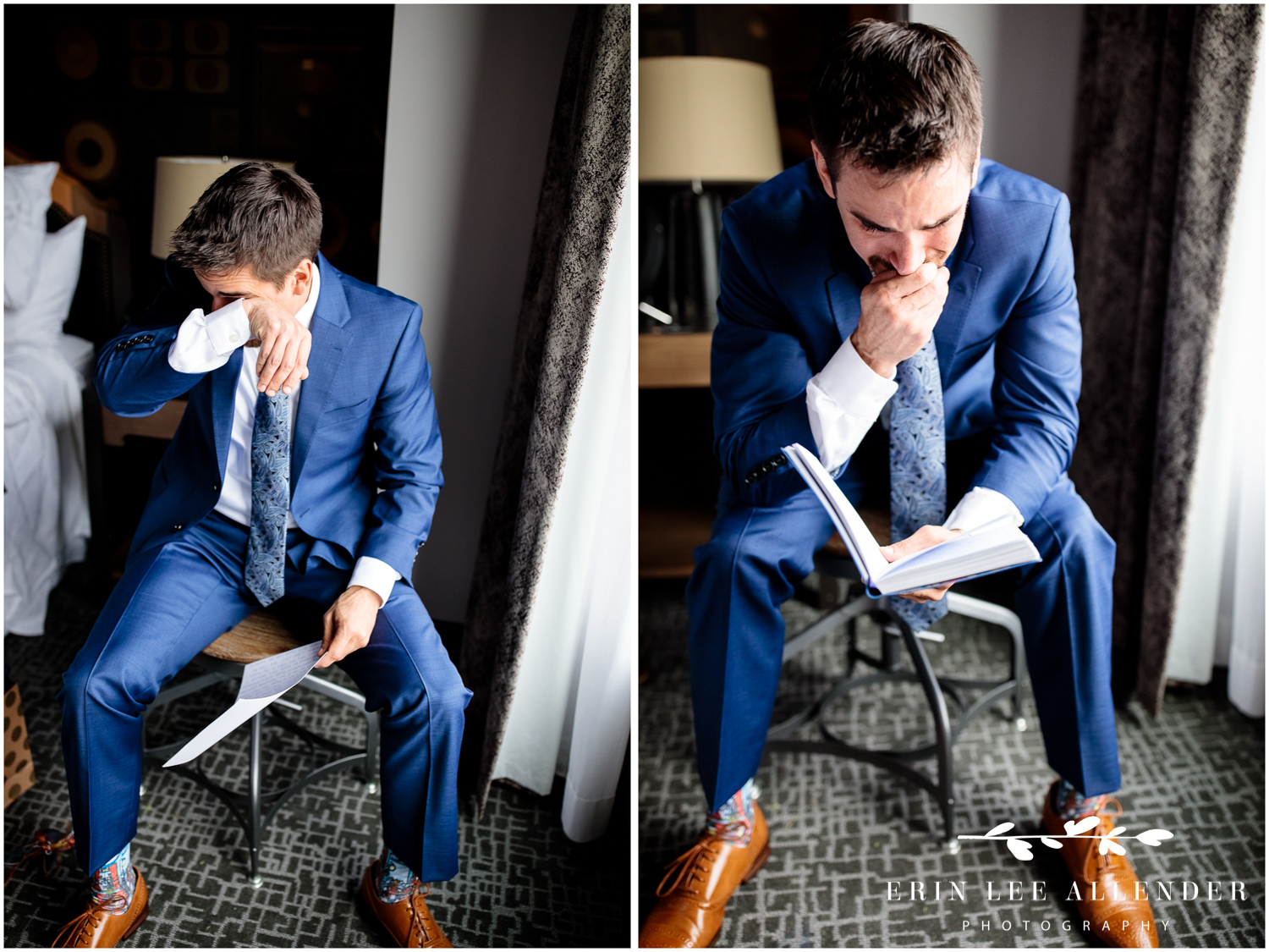 Groom-reads-letter-from-bride