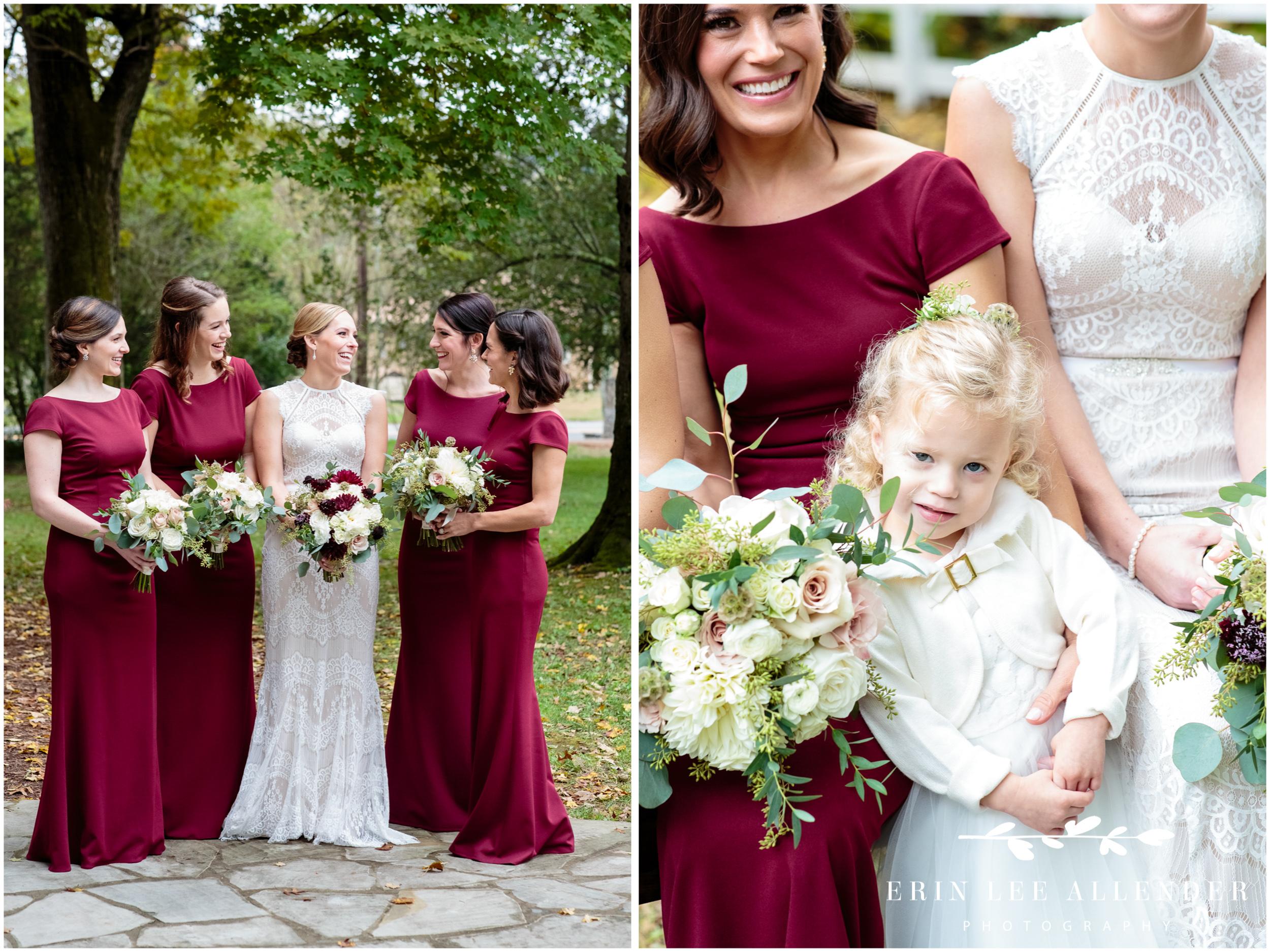 Burgundy-sleeve-bridesmaids-dresses
