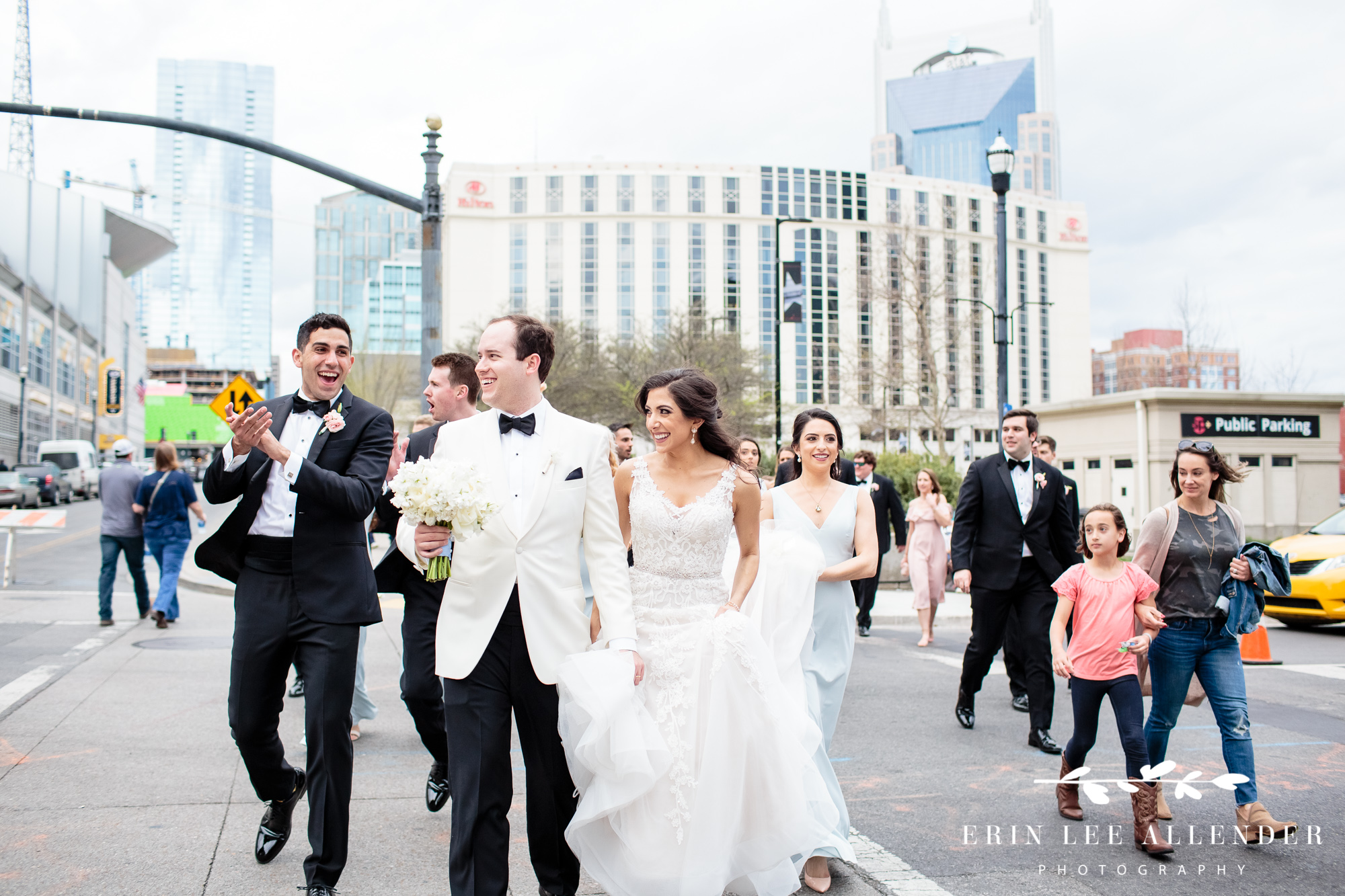 wedding-party-walking-downtown