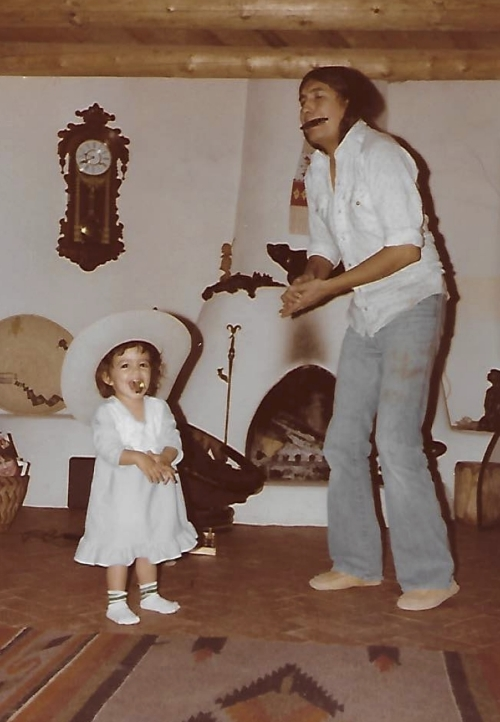 Me and my dad. A hat. A harmonica. Happiness.
