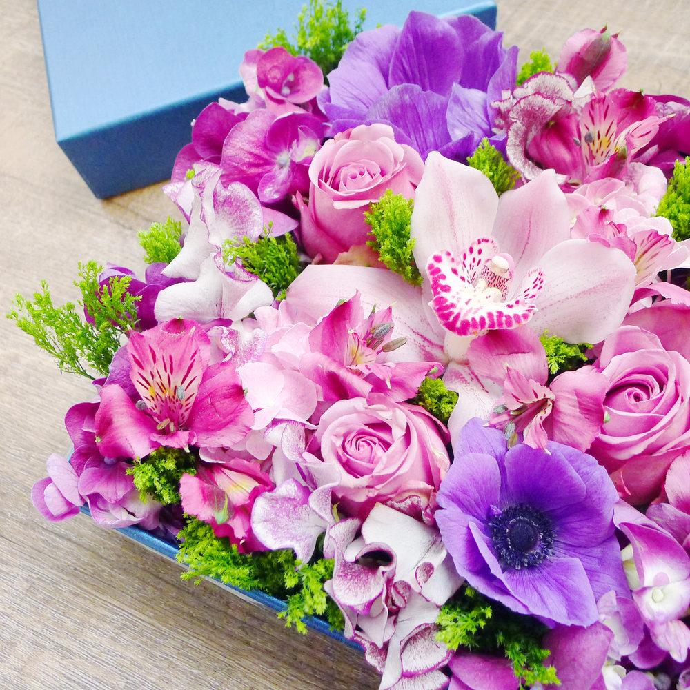 Gift Box Flower Arrangement The Sweet Romance Delectable Flowers