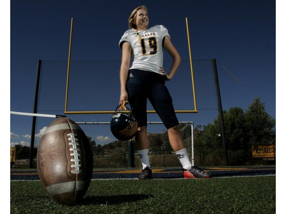 Rancho Christian's Emma Baker is the kicker for the school's football team and a star player on the volleyball team at Rancho Christian High School in Temecula.