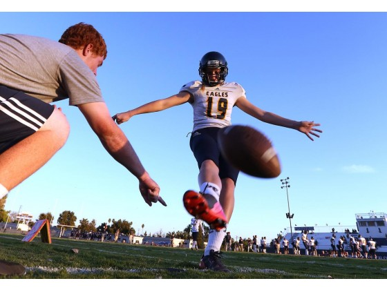 Rancho Christian junior Emma Baker (19) warms up before a game. She was 19 for 19 on field goals and PATs going into Friday's game.