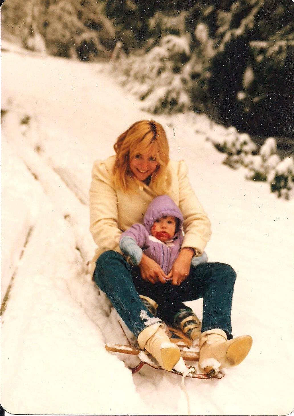 Pictured: Baby Stevie sledding with Mom