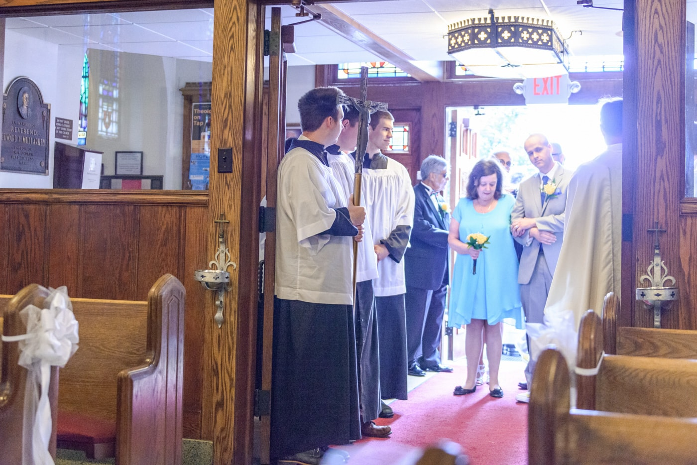 The wedding procession begins at a ceremony at St James Catholic Church in Falls Church, Virginia