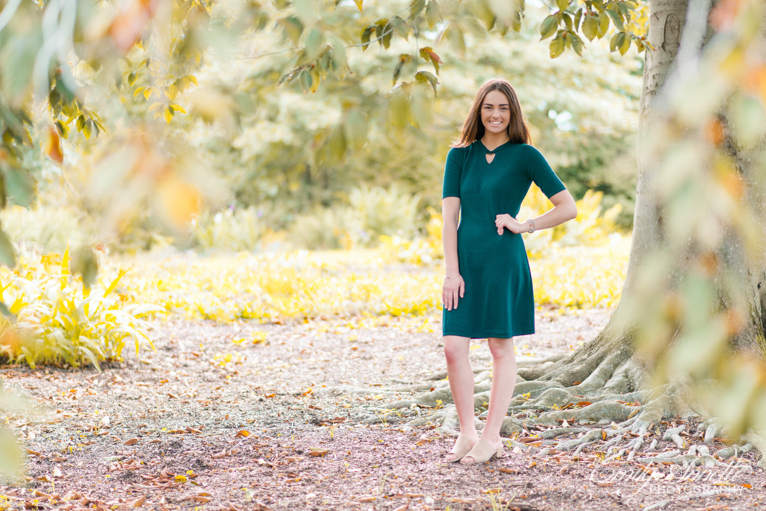 A young woman stands under a tree during golden hour in Green Spring Gardens in Fairfax, Virginia