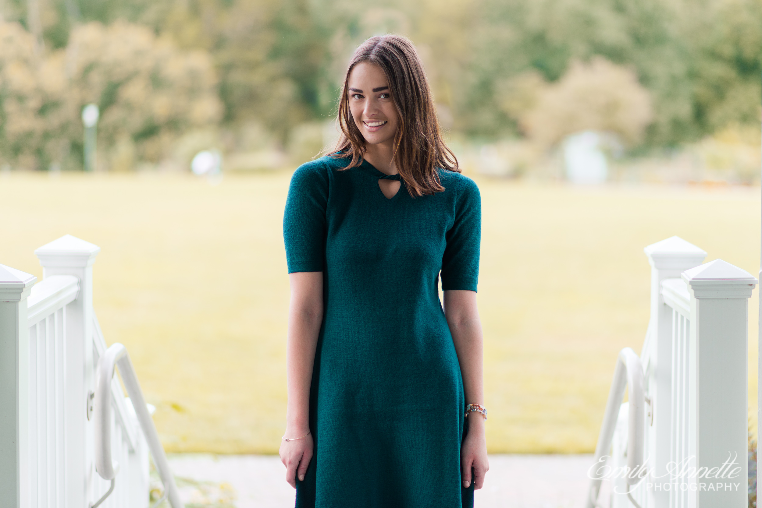 A young woman stands in Green Spring Gardens in Fairfax, Virginia