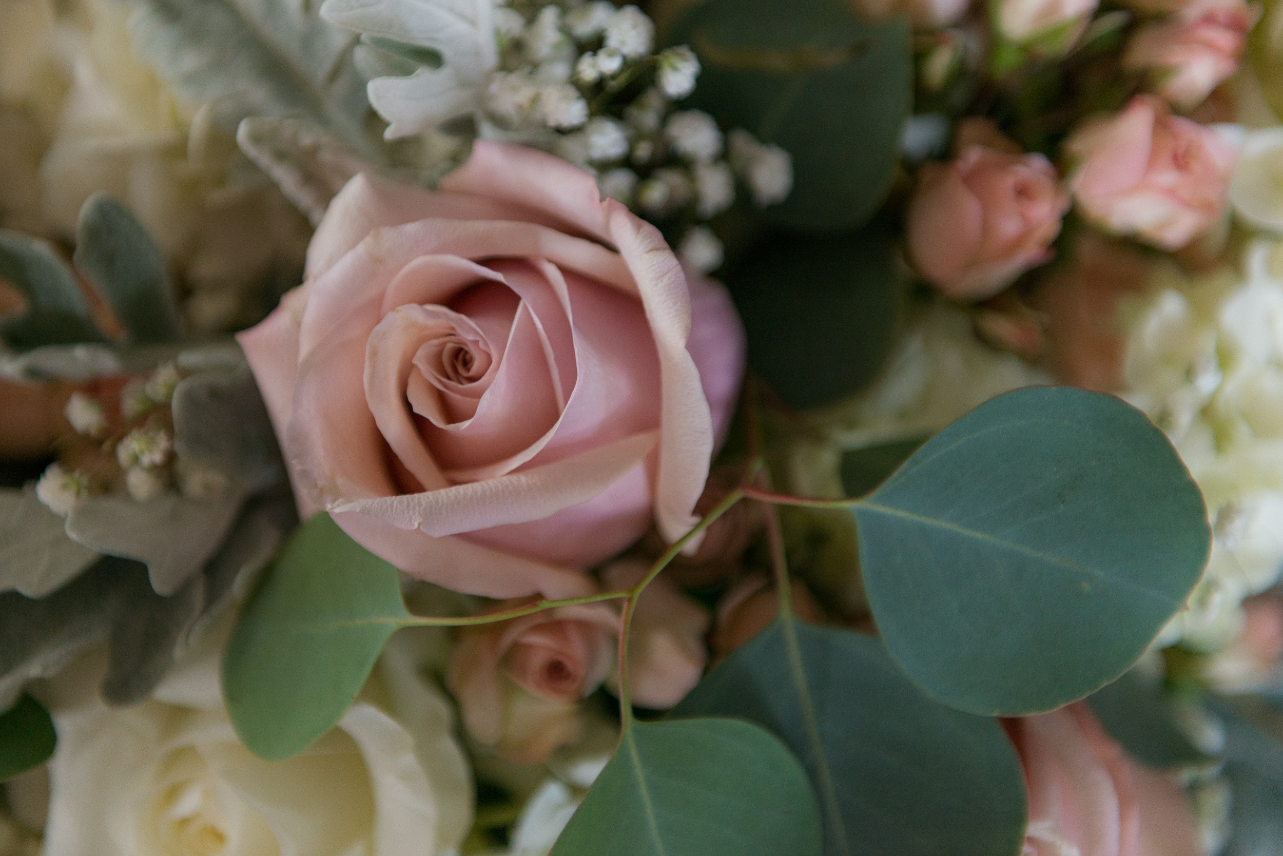 Pastel flowers for a wedding at St. Veronica Catholic Church in Chantilly, Virginia