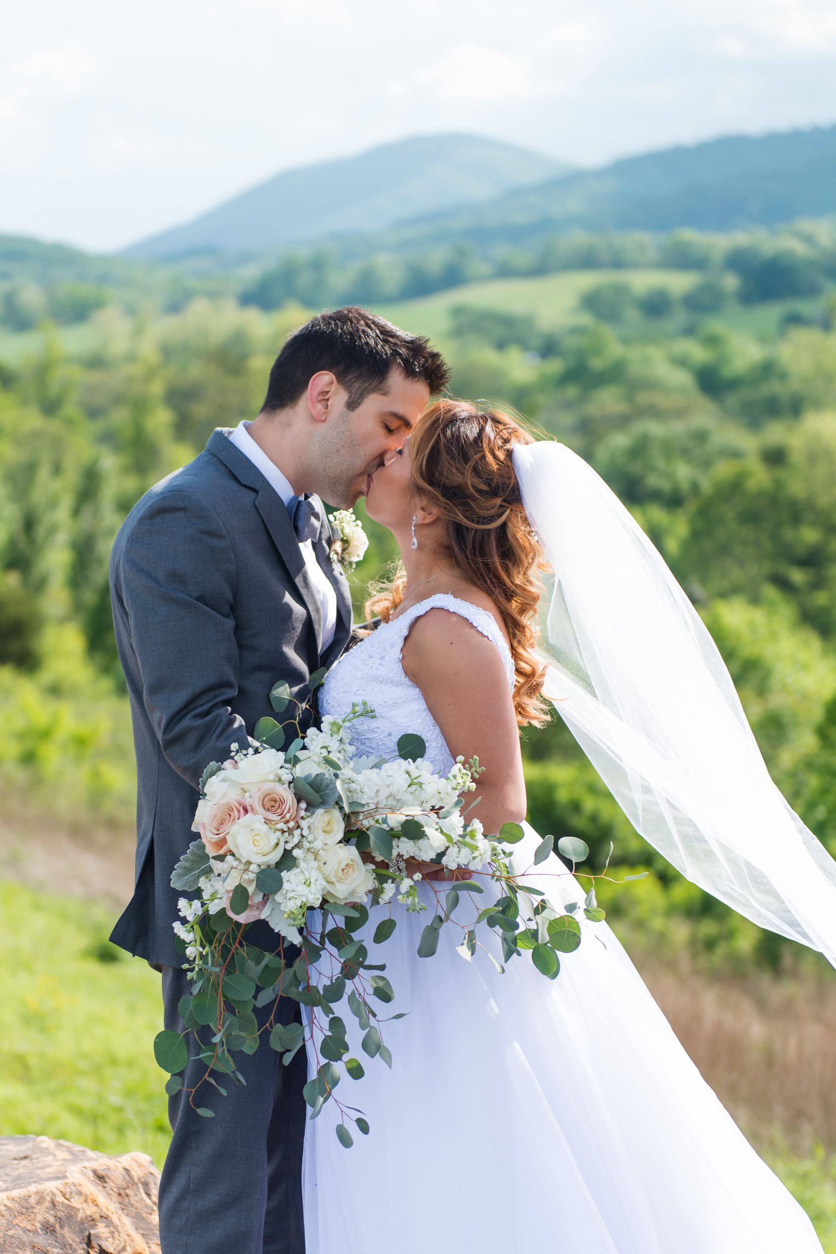 A bride and groom kiss as the bride's cathedral veil flows behind her with Blue Ridge Mountains in the background at Blue Valley Vineyard and Winery in Delaplane, Virginia