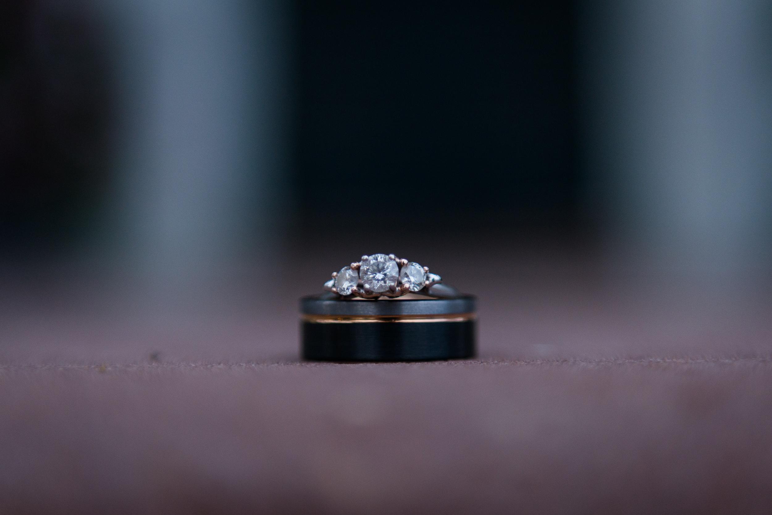 Macro shot of the wedding rings bridal details at Oatlands Historic House and Gardens in Leesburg, Virginia