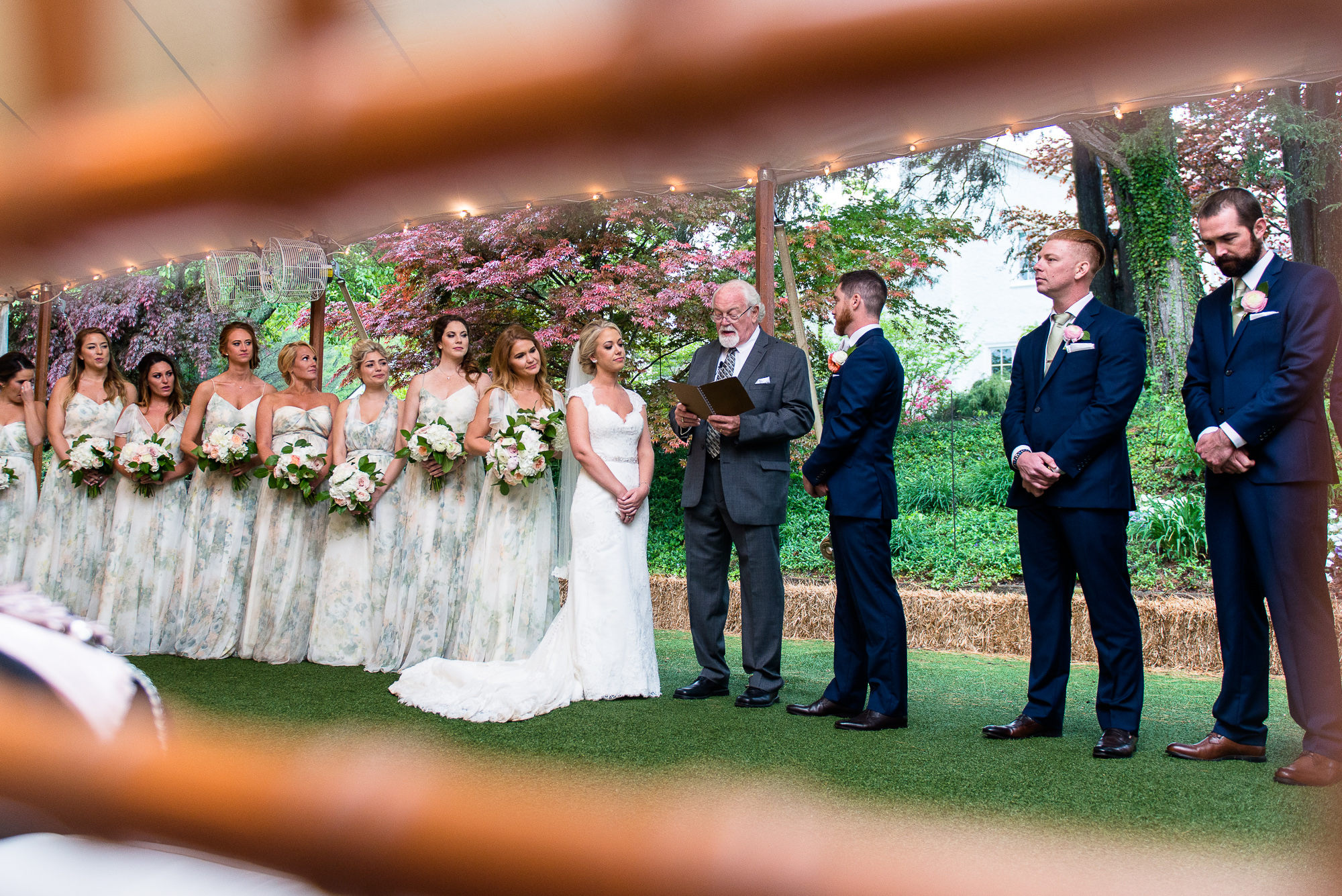 A tented wedding ceremony at Keswick Vineyards in Charlottesville, Virginia