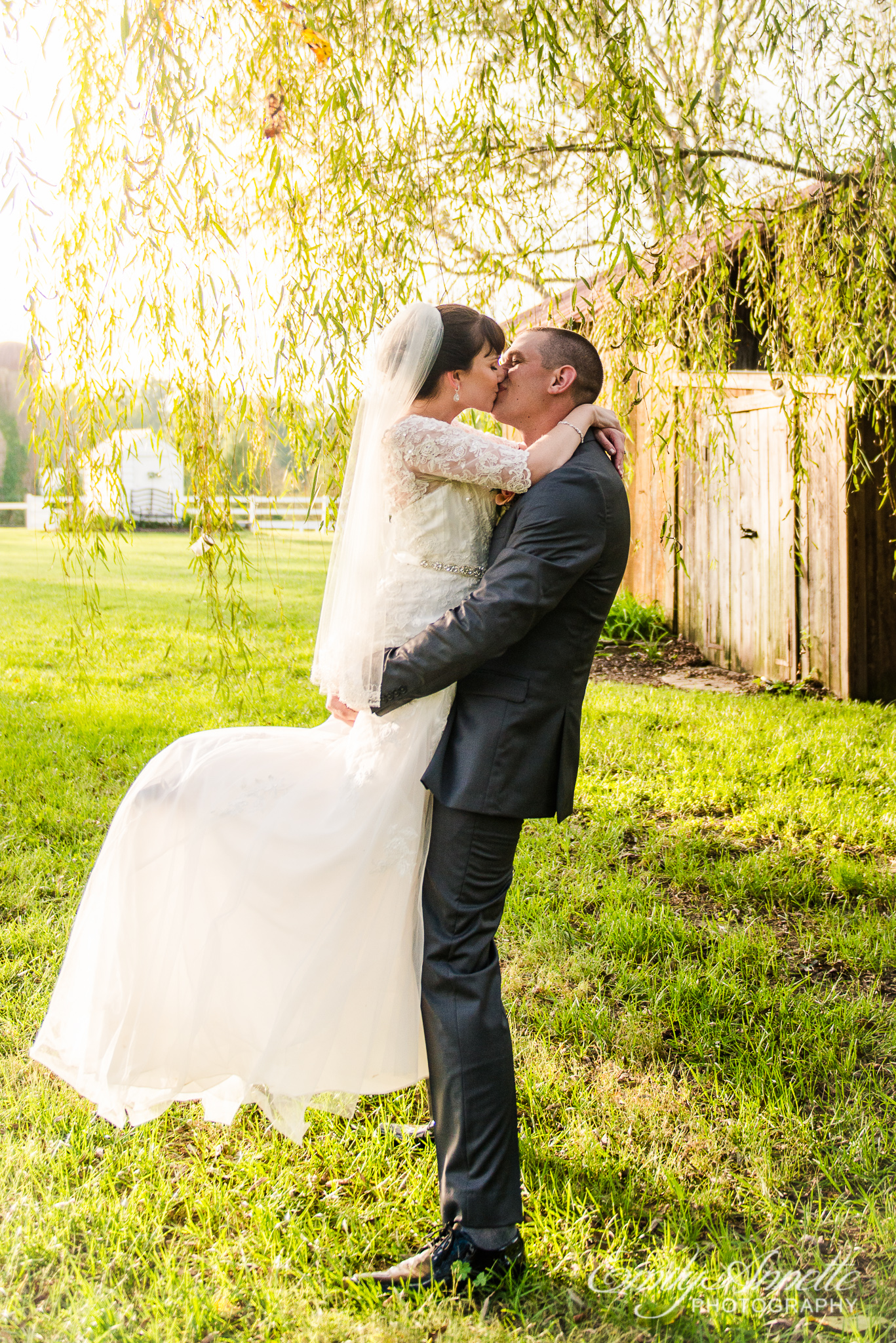 A bride and groom share a kiss under a tree during golden hour after their country wedding at Amber Grove near Richmond, Virginia