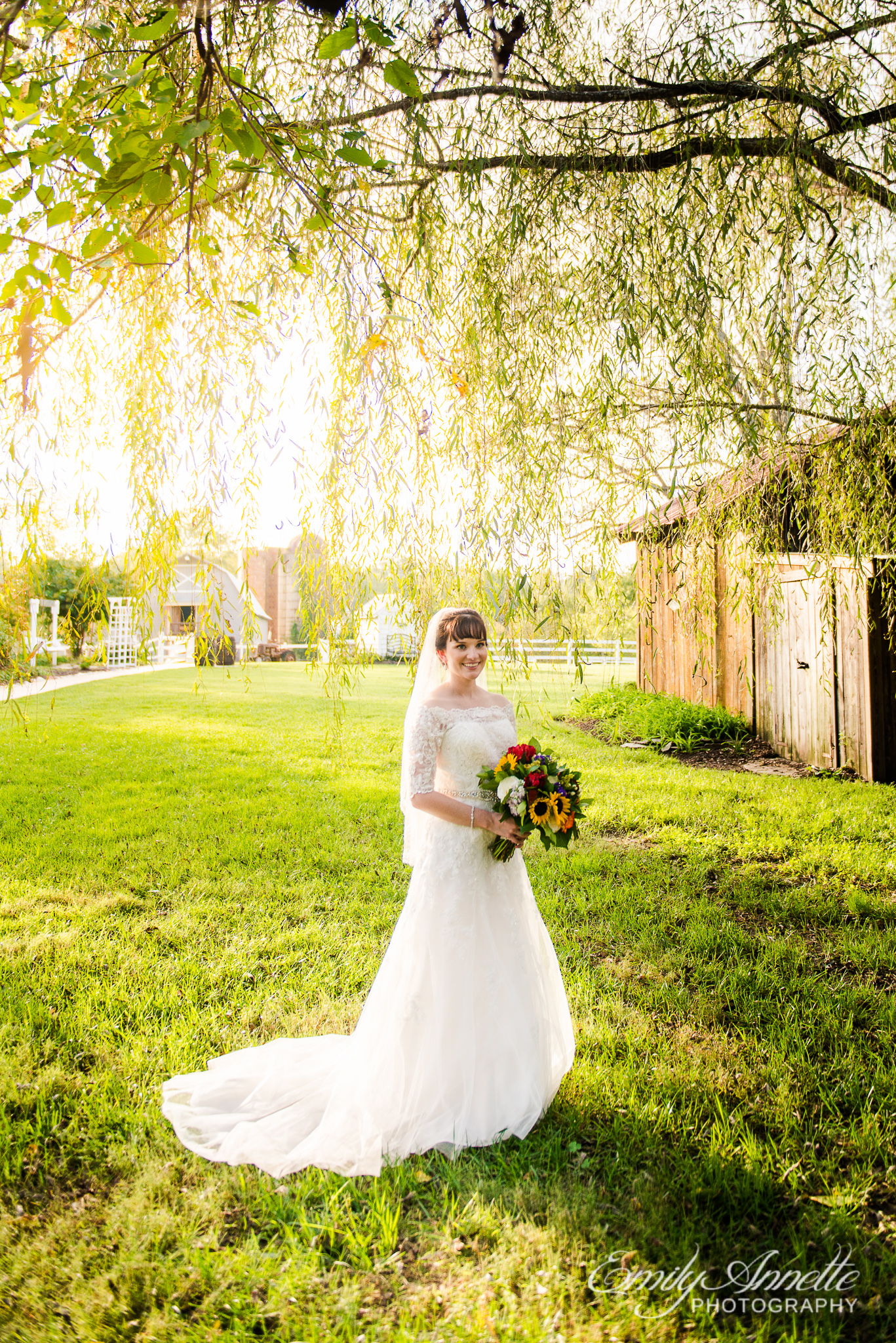 A bride poses for a classic portrait under a weeping branched tree while holding a colorful fall bouquet during a country wedding at Amber Grove near Richmond, Virginia