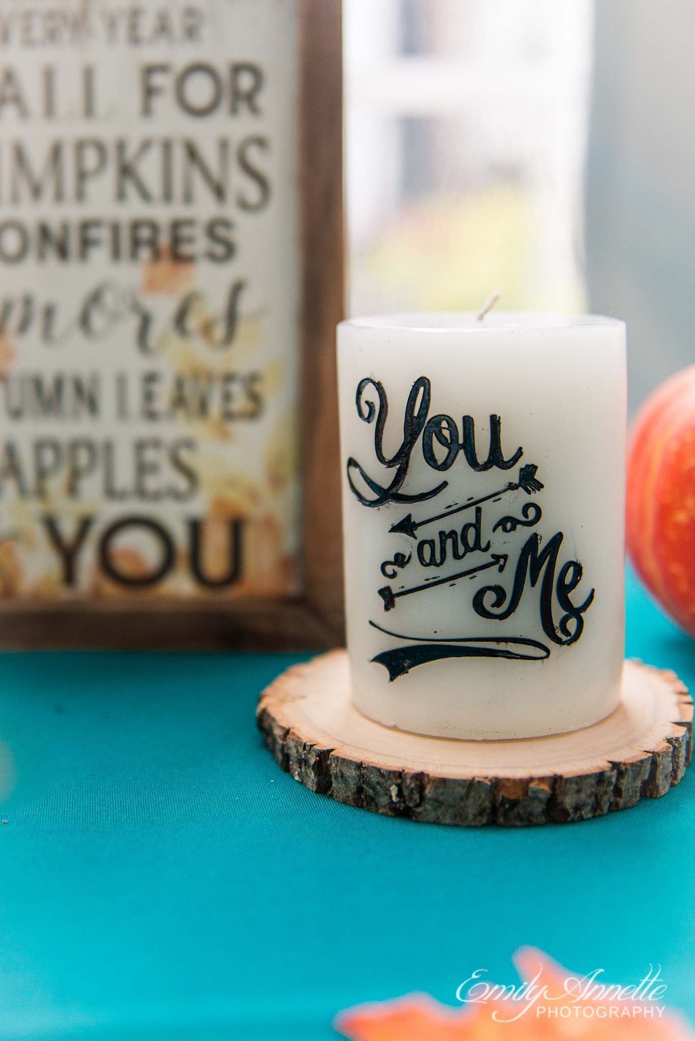 Personalized candles and signs to decorate a country wedding reception at Amber Grove near Richmond, Virginia