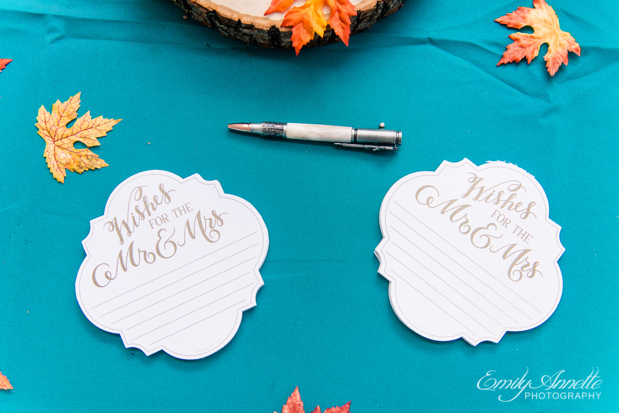 Notes for the bride and groom which decorate a country wedding reception at Amber Grove near Richmond, Virginia