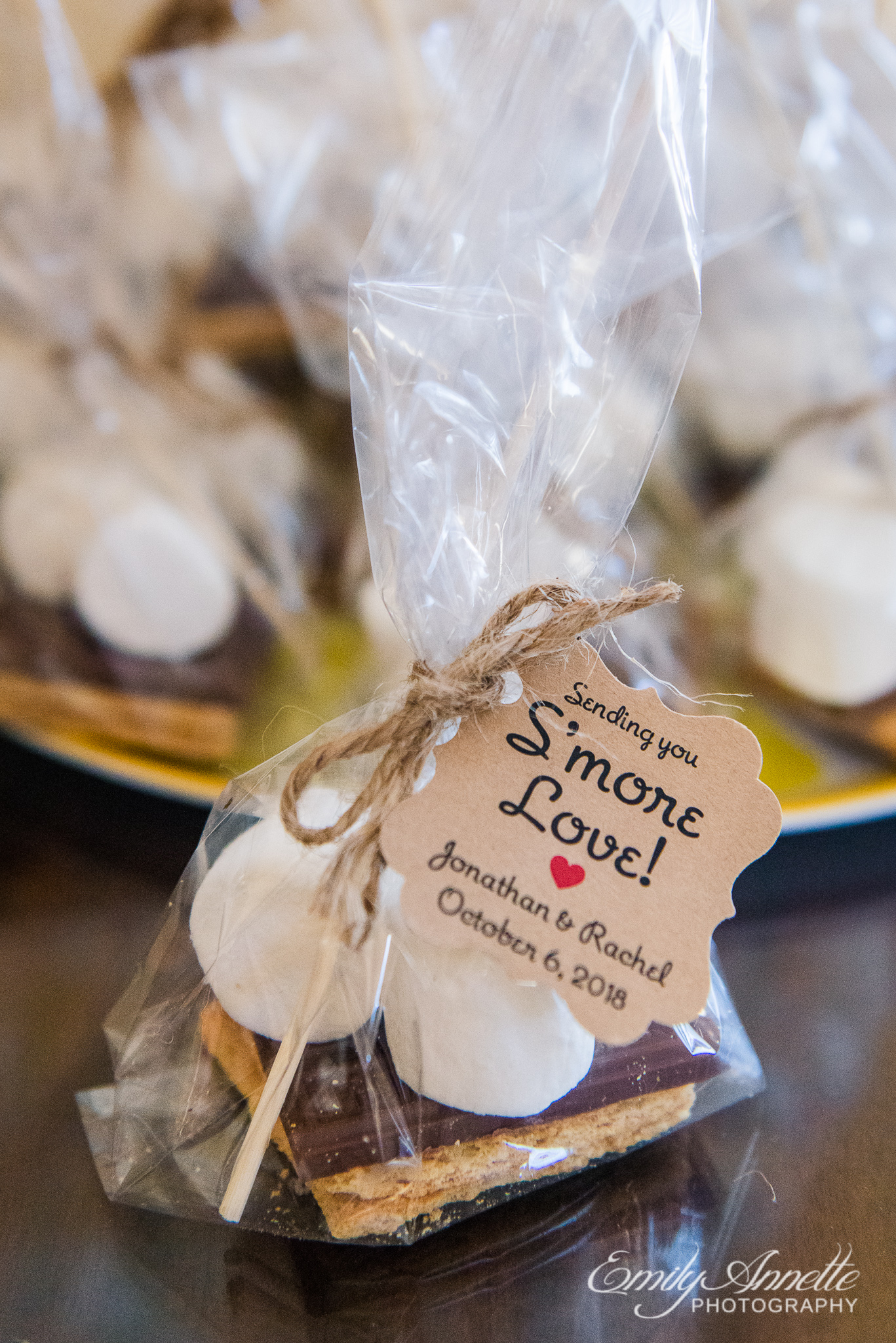 Wedding favors made of s'mores materials for guests of a country wedding reception at Amber Grove near Richmond, Virginia