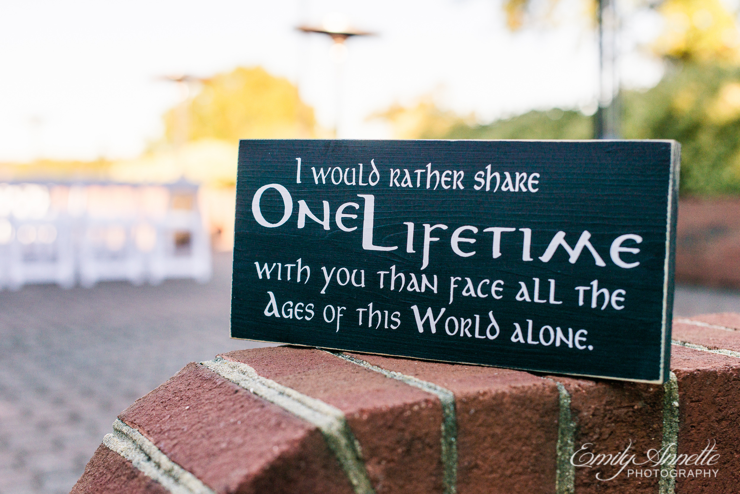 "A sign outside a wedding ceremony that reads ""I would rather share one lifetime with you than face all the ages of this world alone"" at Willow Oaks Country Club in Richmond, Virginia"