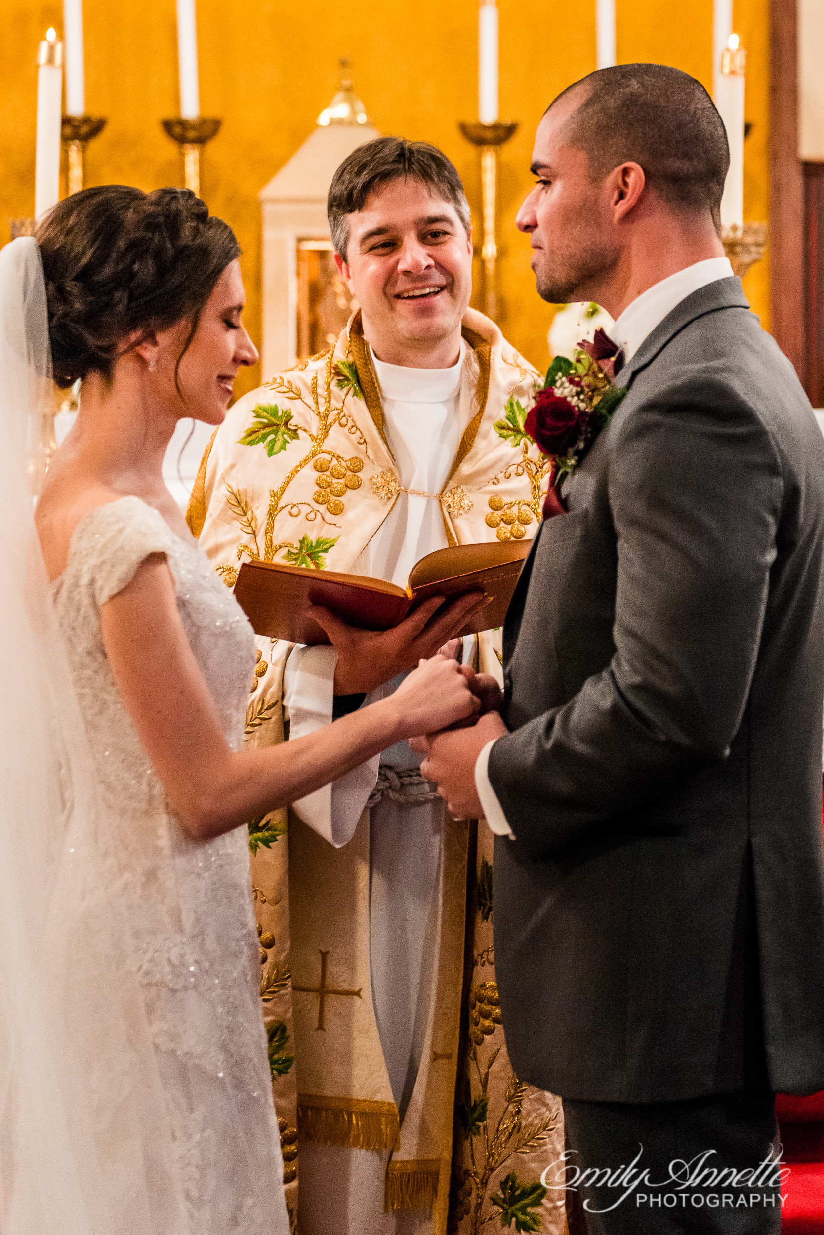 A winter wedding at the Chapel of the Immaculate Conception at St. John the Apostle Church in Leesburg, Virginia by Northern Virginia wedding photographer Emily Annette Photography aka Beauty of the Soul Studio