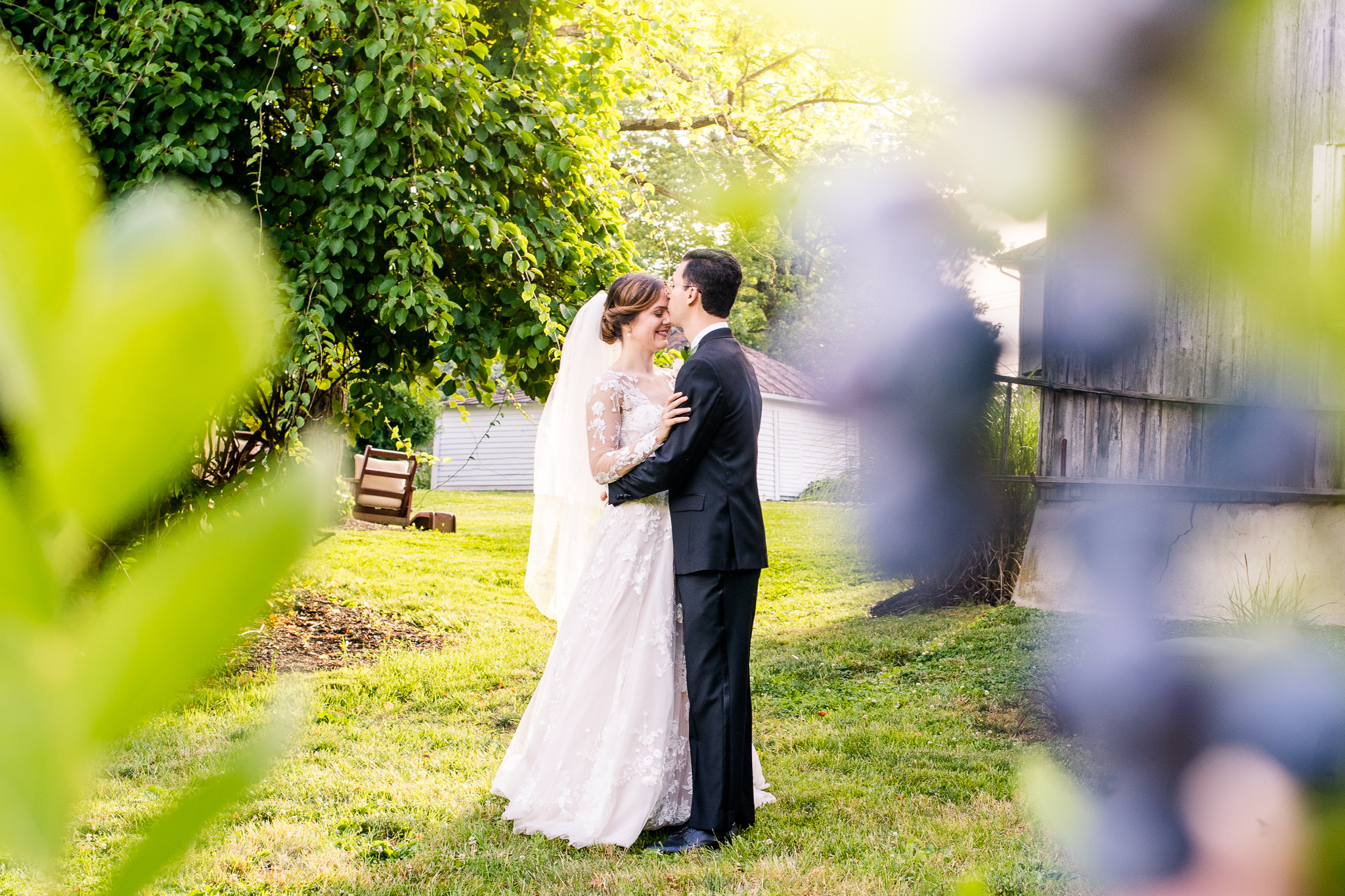 A bride and groom embrace as he gives her a kiss on the forehead with a blueberry bush in the foreground during golden hour at The Barns at Hamilton Station Vineyard in Leesburg, Northern Virginia