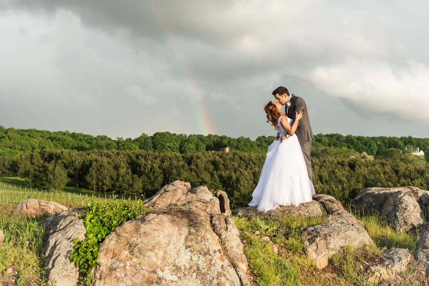 Bride and Groom Rainbow Portrait
