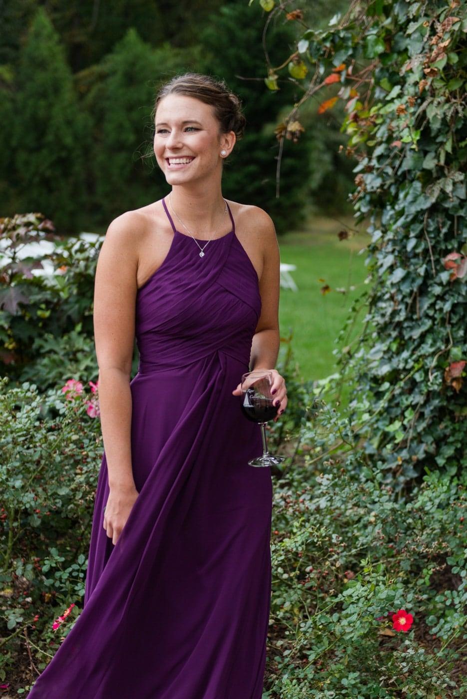 Bridesmaid in a Purple Dress
