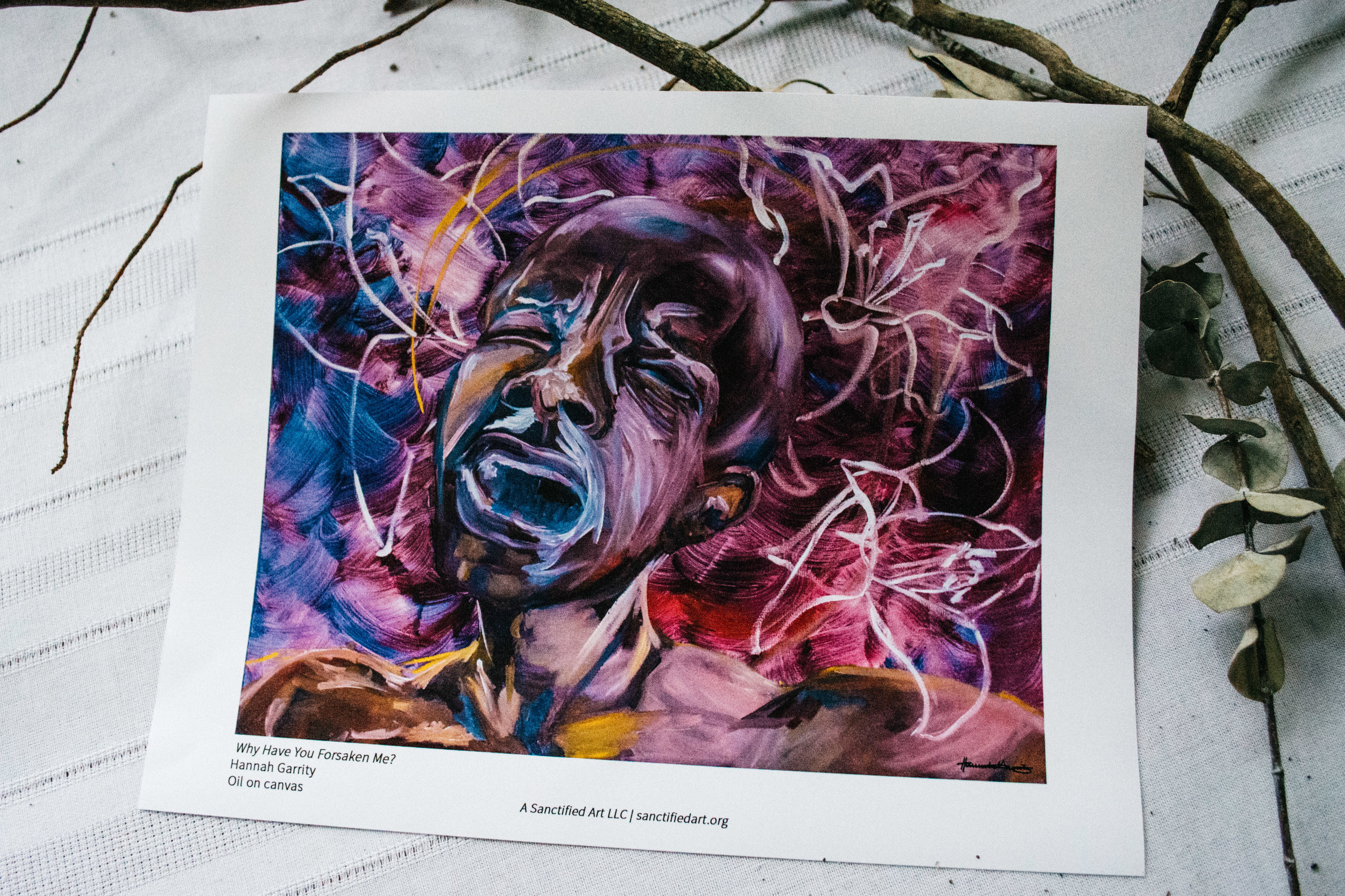 """Why Have You Forsaken Me?    """"For me, visually, Easter has been full of beauty, joy, and wonder—eclipsing the devastation of Good Friday. Here, I surrounded Jesus' head with a halo of lilies, causing beauty and pain to collide.""""  —Artist Hannah Garrity"""