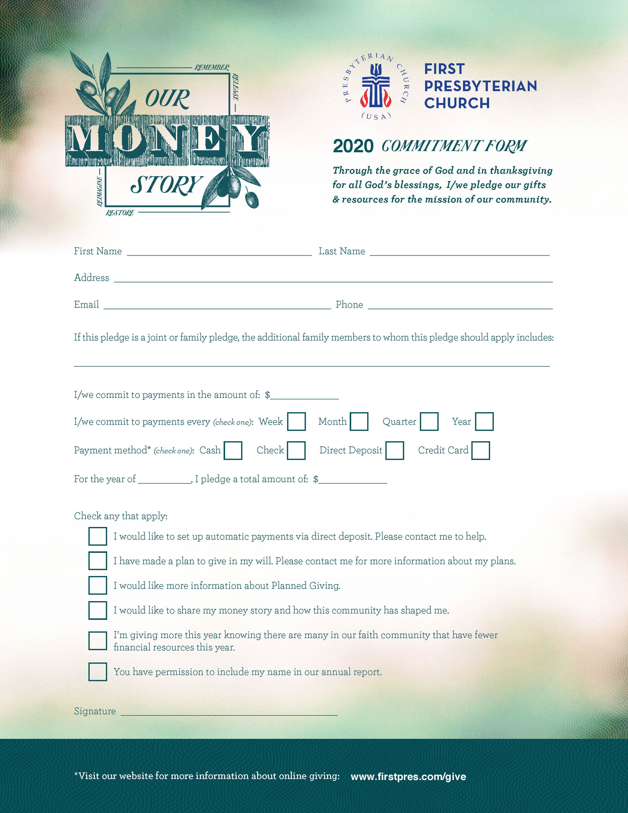 Sample Pledge Cards For Fundraising In Church Pledge Card Template