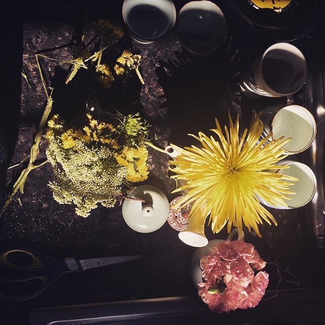 Friday happy hour. Arranging the flowers my sweet husband Ian gave me in my teacups. #happy #fun