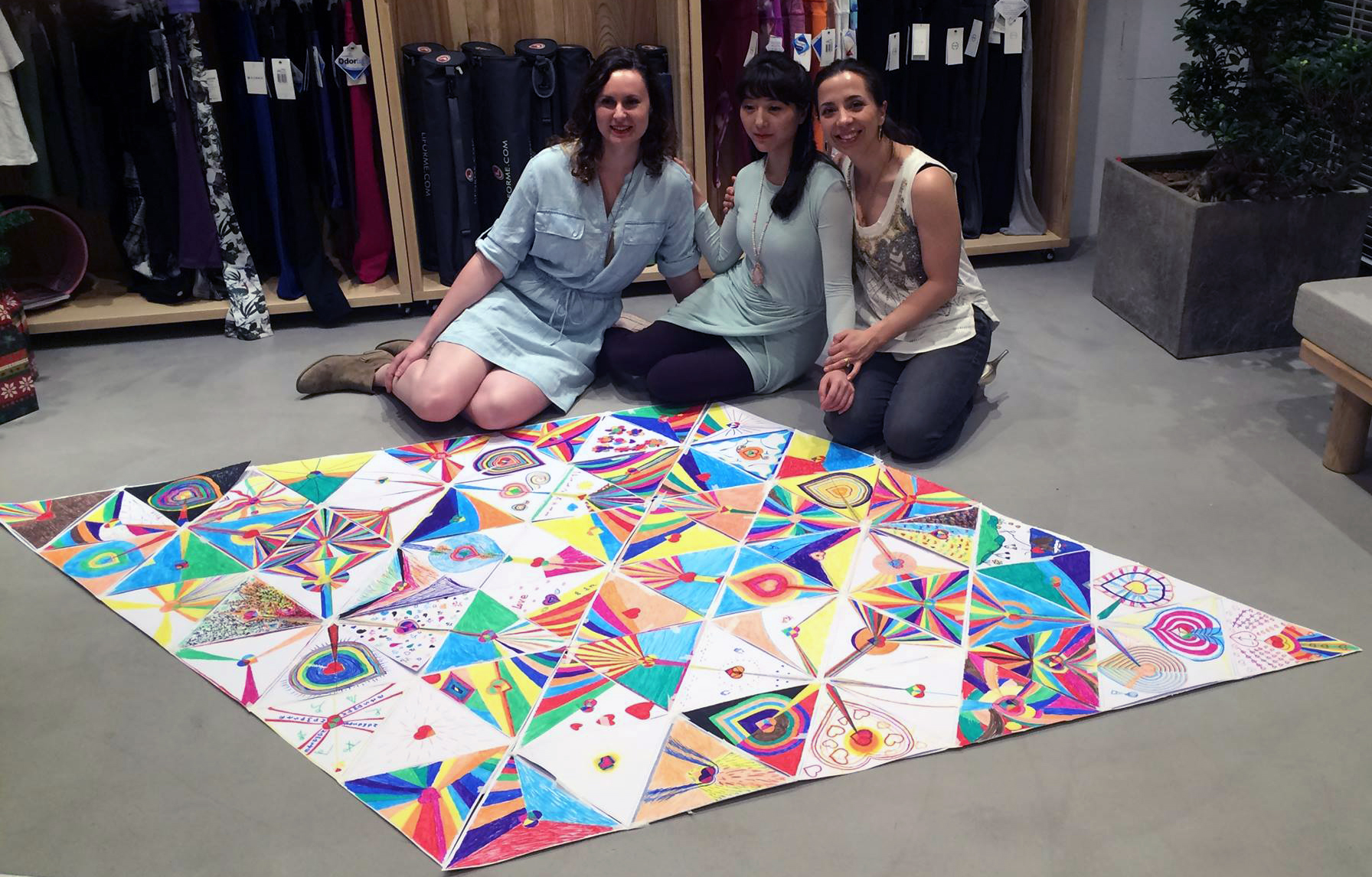 Some of the hearts as they fit together! The mandala held together for the event, then participants mailed them to their intended recipients.