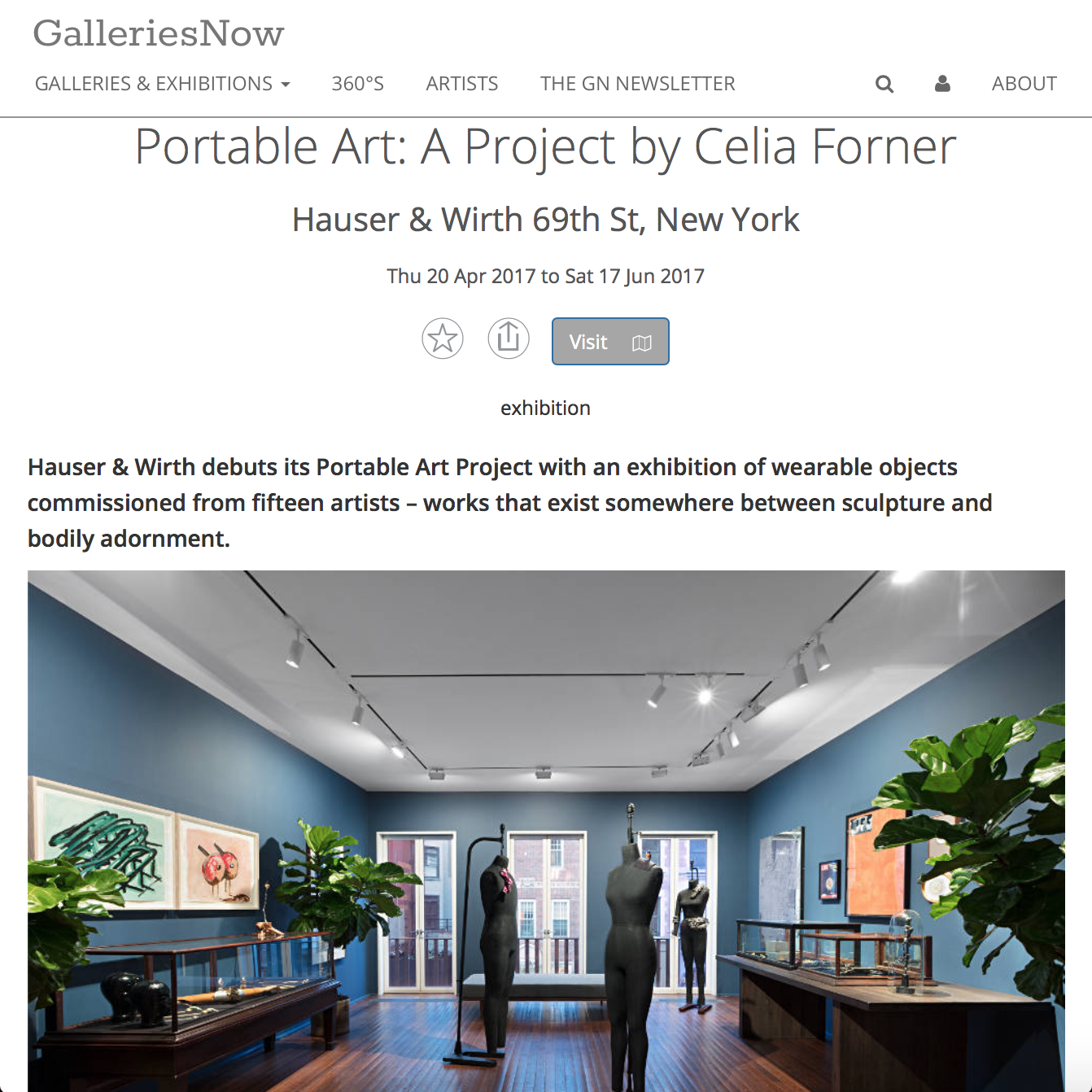 GALLERIES NOW  Hauser & Wirth  Portable Art: A Project by Celia Forner