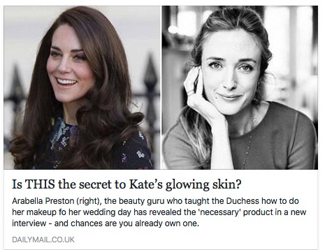 """Beauty Tip: - Kate's beauty guru says her lovely complexion is due to using a """"flannel""""-- i.e. a face cloth! We suggest the Warsh Cloth!"""