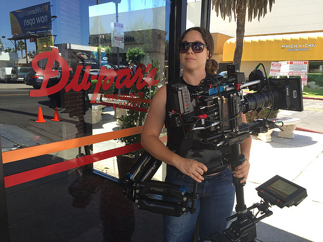 Jessica Lopez, female Steadicam operator, on the set of Comedians In Cars Getting Coffee, Photo courtesy of Jessica Lopez
