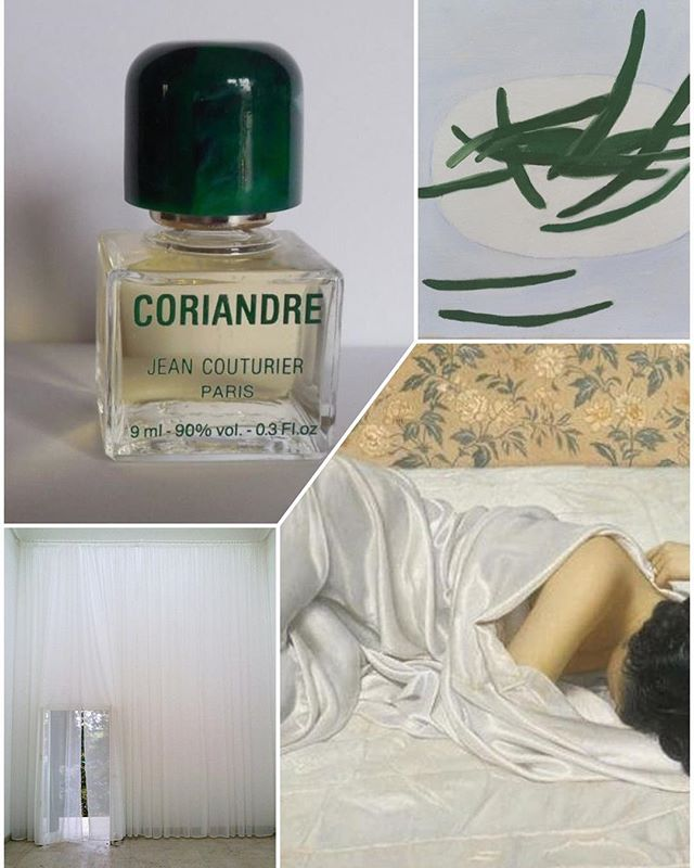 hey friends #lostpassword #foundit #perfume #paris #coriandre #williamscott #greenbeans #johnkacere #ivory #silk #repose #pavillionallemand #curtains #collage #weeknightcollage 🌬🌿🥒