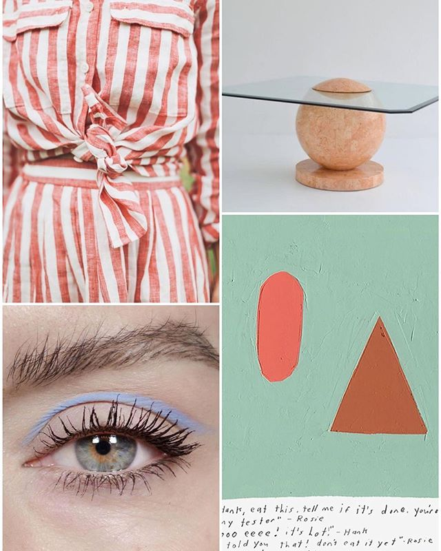 yum #vacationfeels ! #linen #stripes #tesselated #stone #glass #table #kristinteixeira #perriwinkle #eyeliner #justbecause #collage #weeknightcollage 🍨🍿🗽👅