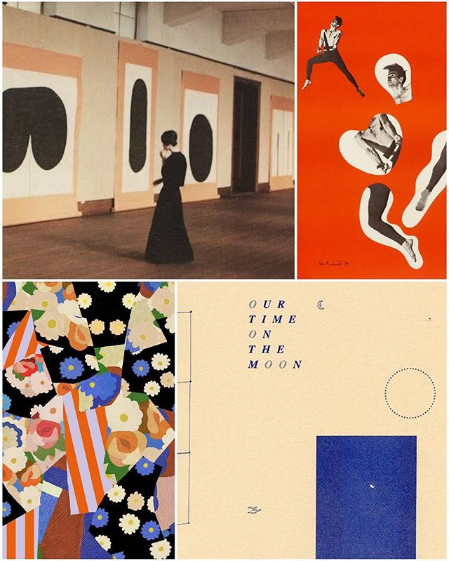 at the #museum #jamesleebyars #paulrand #graphicdesign #ineslongevial #themoon #cobalt #orange #flowers #collage #weeknightcollage 🔹🌘🛰🔺