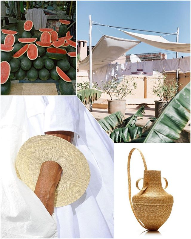 still #summer y'all #patrickfaigenbaum #watermelons #marrakech #morocco #rosieassoulin #basketbag #danielagregis #bangle #collage #weeknightcollage 🍉🍶🌿