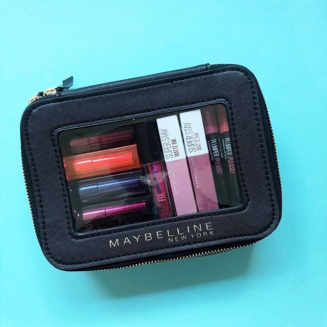 Gangs all here and ready for #nationallipstickday💋 @maybelline gifted these chic vegan leather makeup cases to editors and makeup artists, filled with their latest products