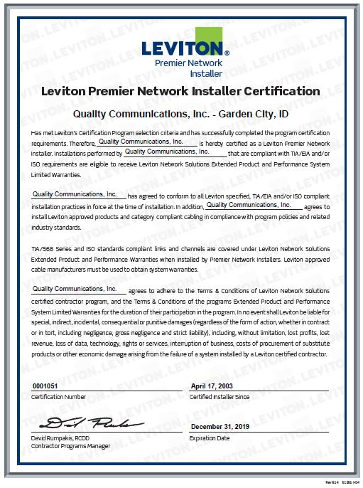 Certifications — Quality Comm Inc
