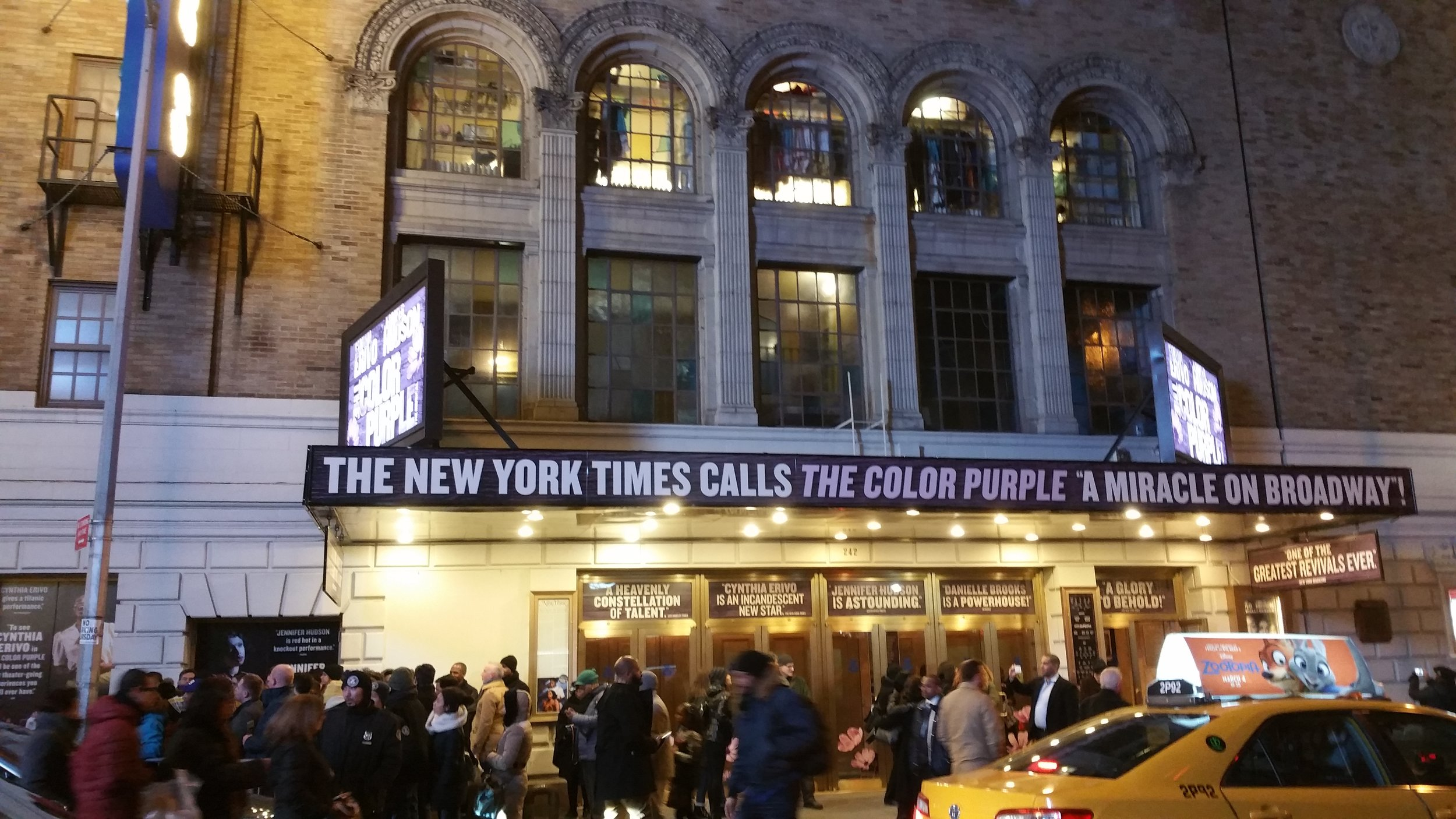 Outside of the theater for the Color Purple…