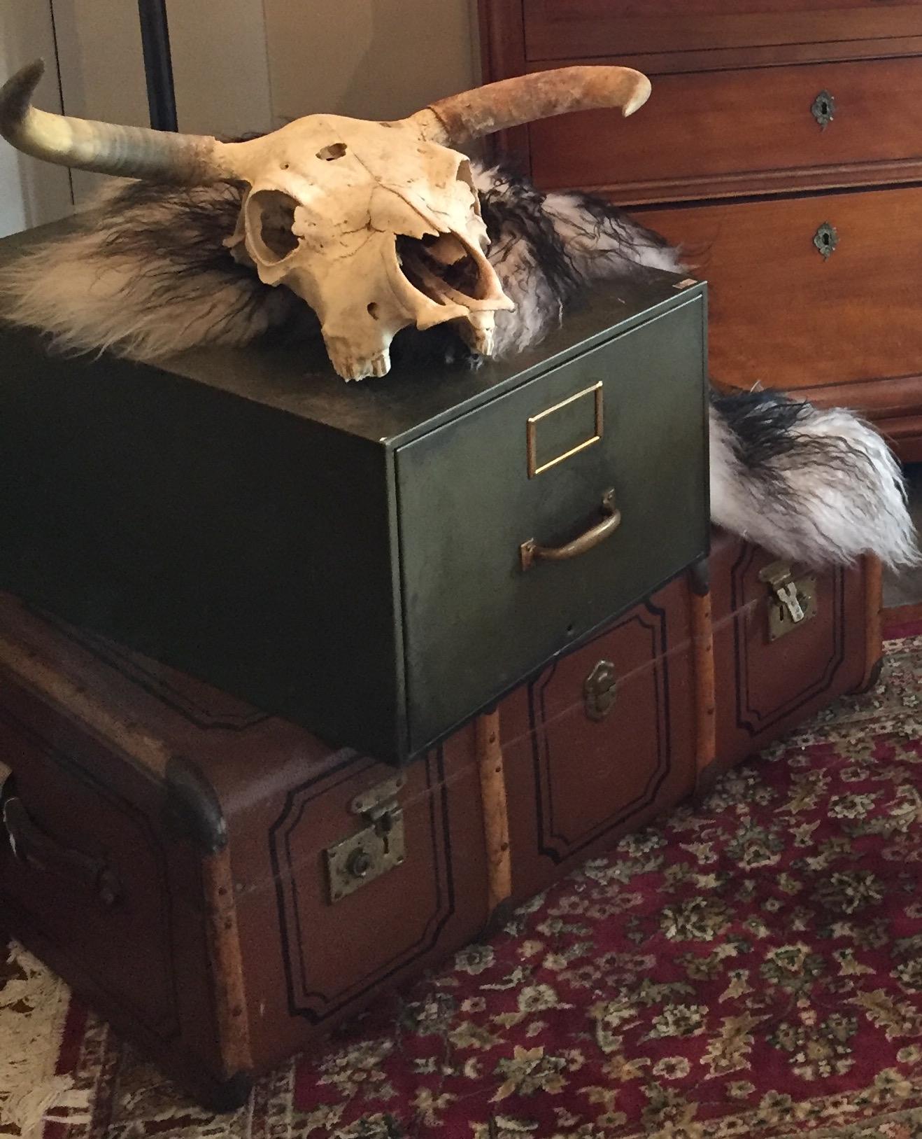 Large army green filing drawer. $55.