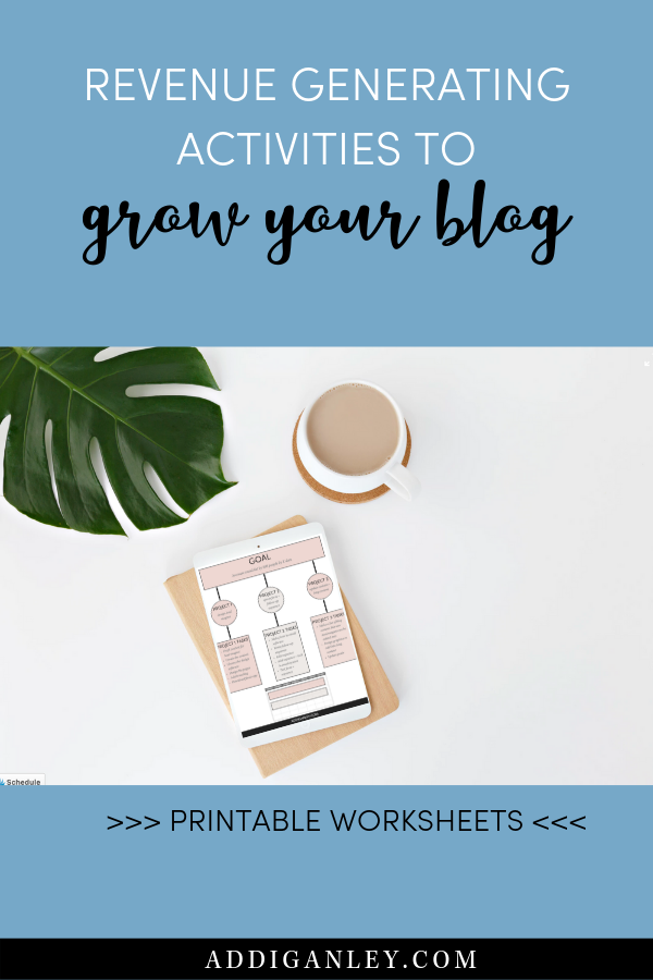 Want to grow your blog? Here are 5 revenue generating activities that you need to focus on to increase your blogging income. I want to prevent you from wasting time on busywork so that you can focus on the activities that will grow your blog and your income. Click here now to make money blogging and download my free goal setting for bloggers workbook!