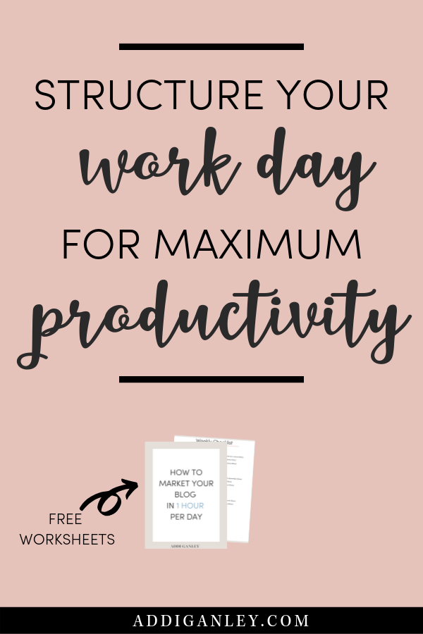 Are you struggling to be productive while working from home? It can be tough making your own schedule and planning your days to be productive as a blogger. I am dishing out my top 3 tips on how to structure your work day for maximum productivity. These tips allow me to only work about 20 hours a week and still grow my blog. Check them out now and click over to download a copy of How to Market Your Blog in 1 Hour Per Day!