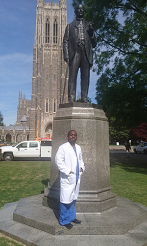 The Bassett Foundation Scholarship recipient who was at Duke in April,     Dr. Alex Muhindo; Fellow of the College of Surgeons of Eastern, Southern, and Central Africa (COSECSA).