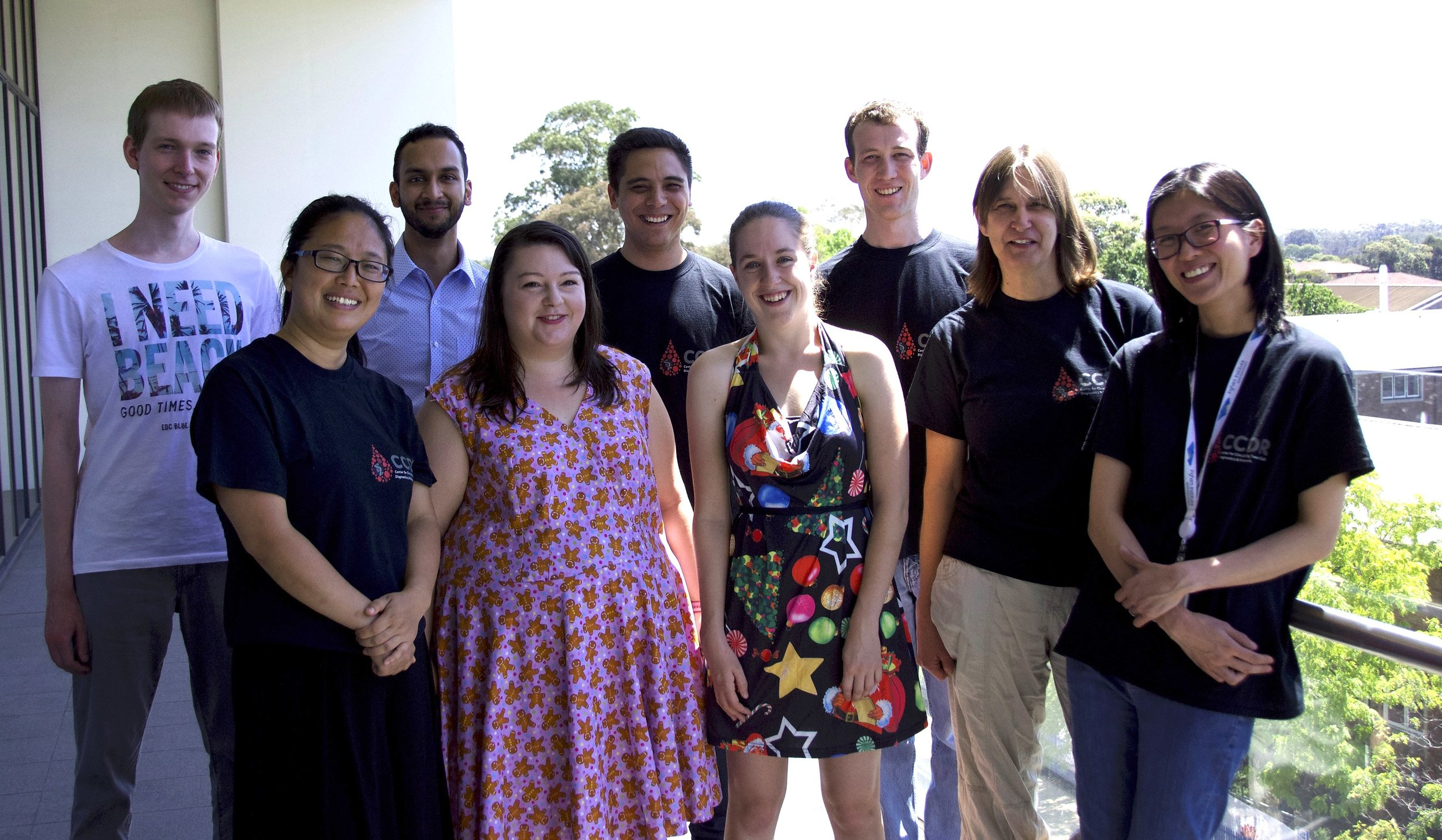 Whole CTC research team working with Therese Becker (as Dec 2017):   Top(left to right): Andre Franken, Vinay Murthy, Joseph Po, David Lynch  Bottom (left to right): Yafeng Ma, Casey Borthwick, Sarah Jeffreys, Therese Becker, Pei Ding