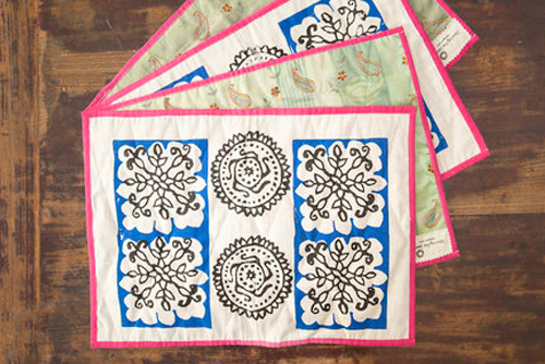Bags, cushion covers, flags, table mats,runners, purses and pouches. - 100% certified organic cotton, 120 gsm organic cotton, recycled Indian saree fabric.