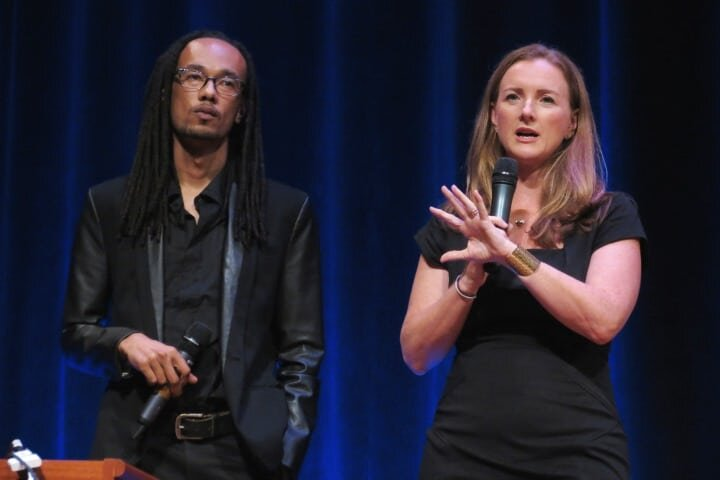 Learning the Trading Game:  Husani Oakley (l), chief technology officer, and Jane Barratt (r), CEO, said GoldBean can give beginners in investing a better understanding of stocks and the financial markets.